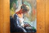 Girl with i pad by JLYoung, Painting, Oil on canvas