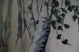 silver birch mural detail by JLYoung, Painting, Acrylic on board