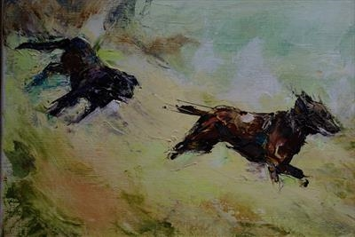 Dogs chasing by JLYoung, Painting, Oil on canvas