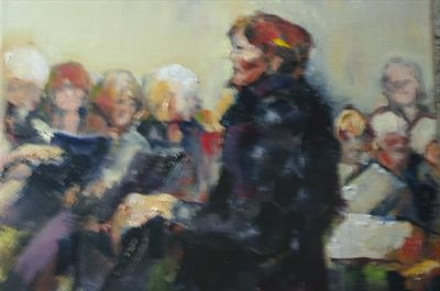 Rehearsing the scratch choir one by JLYoung, Painting, Oil on canvas