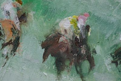 racing three by JLYoung, Painting, Oil on canvas