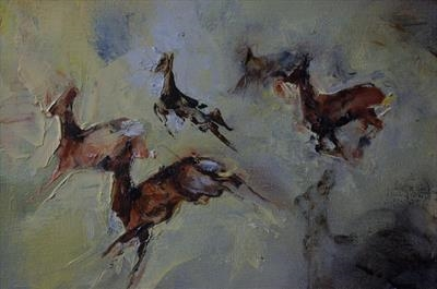 six deer by JLYoung, Painting, Oil on canvas